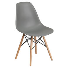Elon Series Moss Gray Plastic Chair with Wooden Legs
