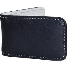 Magnetic Money Clip - Top Grain Nappa Leather with Suede Lining - Navy and Gray