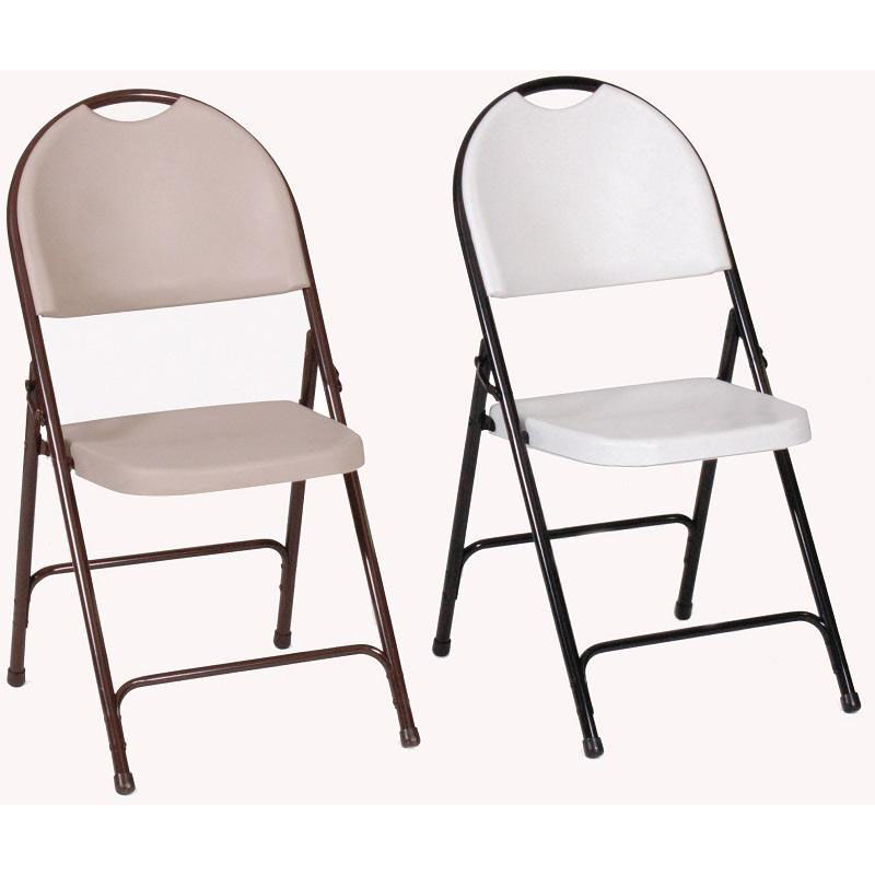 ... Our Armless Plastic Folding Chair With Brown Steel Frame And Carrying  Handle   Mocha Granite Seat