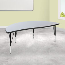 "60"" Half Circle Wave Collaborative Grey Thermal Laminate Activity Table - Height Adjustable Short Legs"