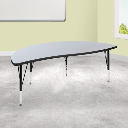 "Our 60"" Half Circle Wave Collaborative Grey Thermal Laminate Activity Table - Height Adjustable Short Legs is on sale now."