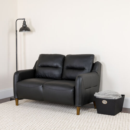 Our Newton Hill Upholstered Bustle Back Loveseat in Black LeatherSoft is on sale now.