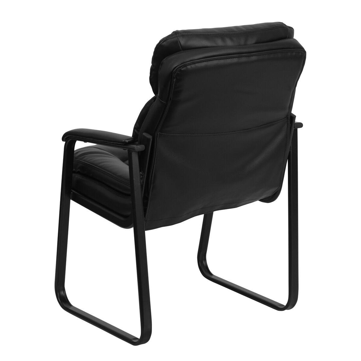 black leather side chair go 1156 bk lea gg bizchair com