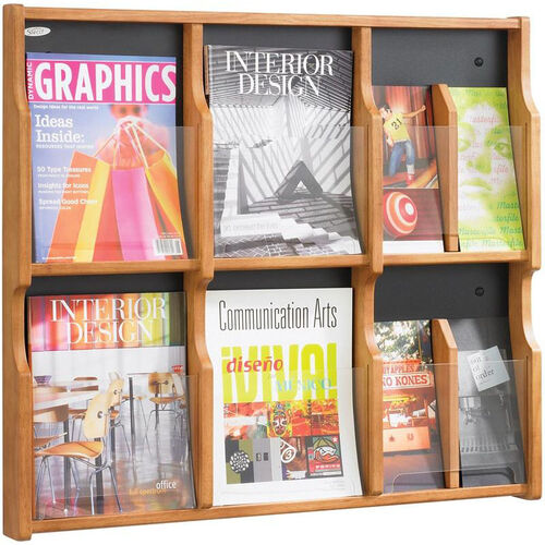 Expose™ Six Magazine Twelve Pamphlet Display with Plastic Front Panel - Medium Oak