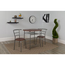 Soho 3 Piece Space-Saver Mahogany Finish Bistro Table with Shelf and Chairs