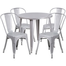 "Commercial Grade 30"" Round Silver Metal Indoor-Outdoor Table Set with 4 Cafe Chairs"