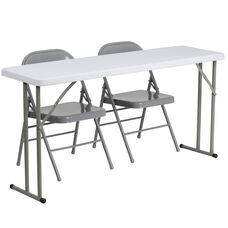 5-Foot Plastic Folding Training Table Set with 2 Gray Metal Folding Chairs