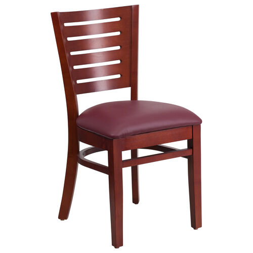 Our Mahogany Finished Slat Back Wooden Restaurant Chair with Burgundy Vinyl Seat is on sale now.