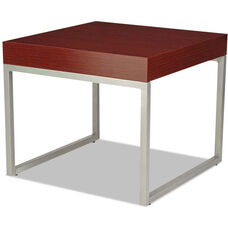 Alera® Rectangular Occasional Corner Table with Silver Steel Frame and Laminate Top - 23.63