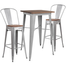 "23.5"" Square Silver Metal Bar Table Set with Wood Top and 2 Stools"