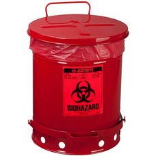 SoundGard™ 10 Gallon Steel Biohazard Waste Cans - Red