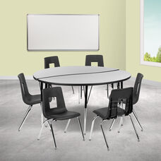 "60"" Circle Wave Collaborative Laminate Activity Table Set with 18"" Student Stack Chairs, Grey/Black"