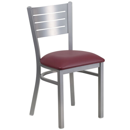 Our Silver Slat Back Metal Restaurant Chair with Burgundy Vinyl Seat is on sale now.