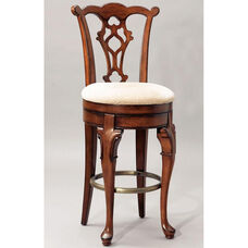 Jamestown Landing Self Return Swivel Barstool - Lightly Distressed Deep Cherry with Beige Fabric