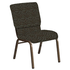 Embroidered 18.5''W Church Chair in Jasmine Chocaqua Fabric - Gold Vein Frame