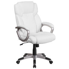 Mid-Back White Leather Executive Swivel Chair with Padded Arms