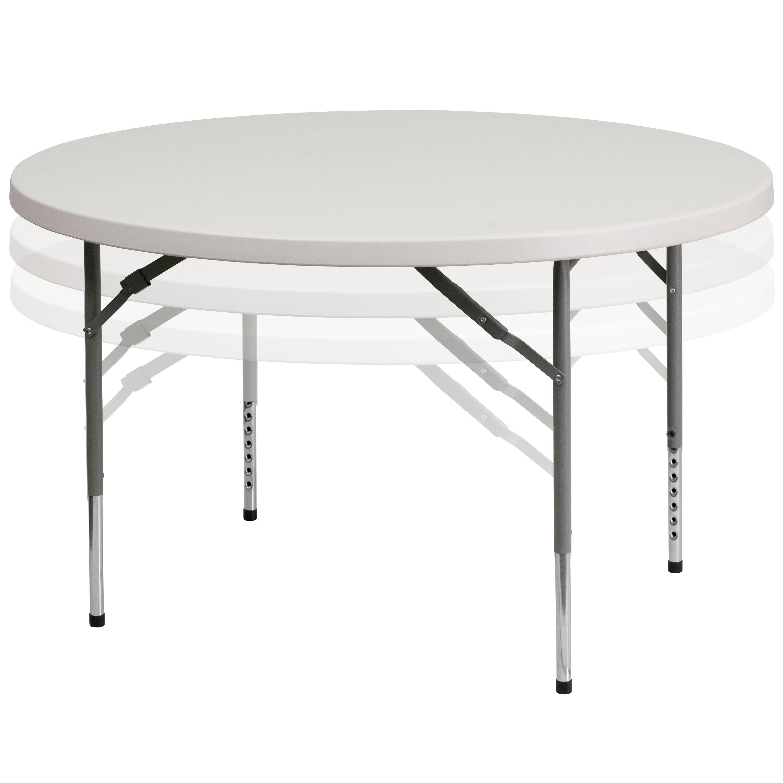 48u0027u0027 Round Height Adjustable Granite White Plastic Folding Table