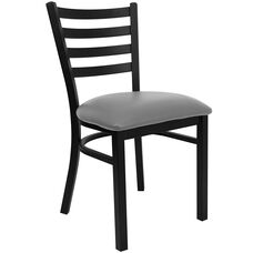 Black Ladder Back Metal Restaurant Chair with Custom Upholstered Seat