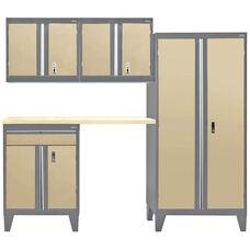 Modular Storage System with Legs - 5 Piece Set - Charcoal and Sand
