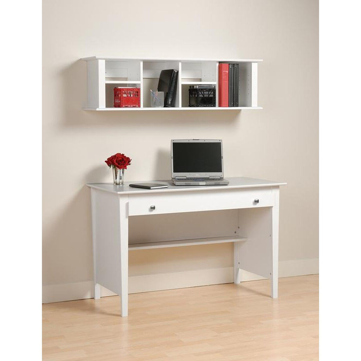Our Wall Mounted 48 W Desk Hutch With 6 Open Storage Compartments White