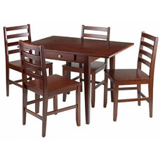 Hamilton 5-Pc Drop Leaf Dining Table with Ladder Back Chairs