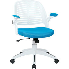 Ave Six Tyler White Frame and Mesh Fabric Seat Office Chair with Padded Armrests and Casters - Blue