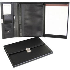 Padfolio File Organizer - Leather - Black