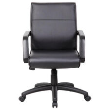 Mid Back LeatherPlus Executive Chair with Lumbar Support and Spring Tilt Control - Black