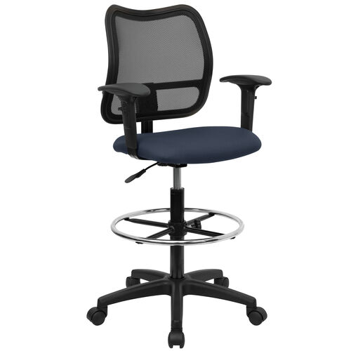 Our Mid-Back Navy Blue Mesh Drafting Chair with Adjustable Arms is on sale now.