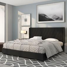 Riverdale King Size Tufted Upholstered Platform Bed in Black Fabric