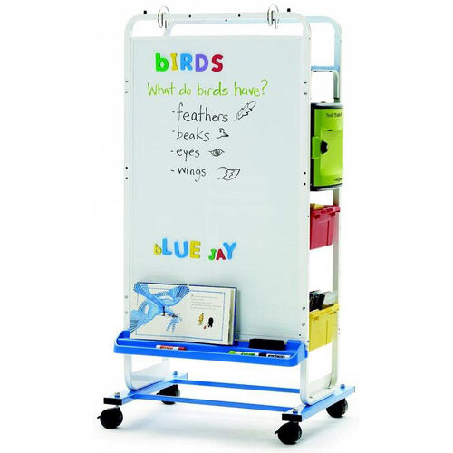Our Rolling 12 Port Tech Tub2® Dual Duty Teaching Easel with Large Magnetic Dryerase Board and Adjustable Big Book Ledge - 24.75