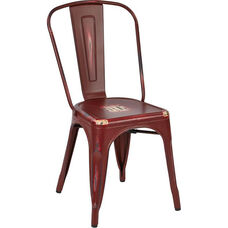 OSP Designs Bristow Stackable Armless Metal Chair - Set of 4 - Antique Red
