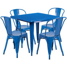 "Commercial Grade 31.5"" Square Blue Metal Indoor-Outdoor Table Set with 4 Stack Chairs"