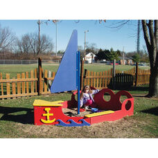 Polyethylene Constructed Tot Town Sailboat Sandbox with Colorful Seating and Decorations - 102