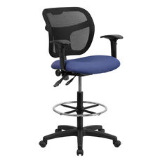 Mid-Back Navy Blue Mesh Drafting Chair with Adjustable Arms