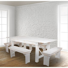 """HERCULES Series 7' x 40"""" Antique Rustic White Folding Farm Table and Four Bench Set"""