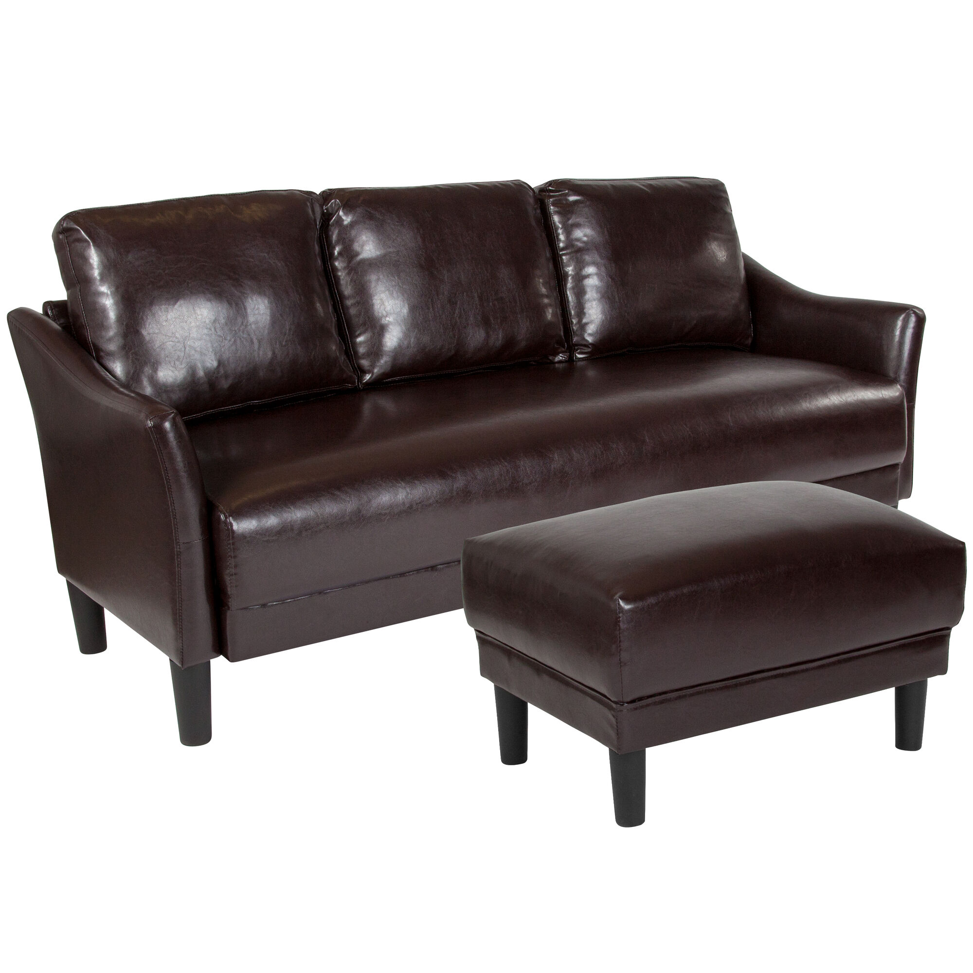 Sensational Asti Upholstered Sofa And Ottoman In Brown Leather Gmtry Best Dining Table And Chair Ideas Images Gmtryco