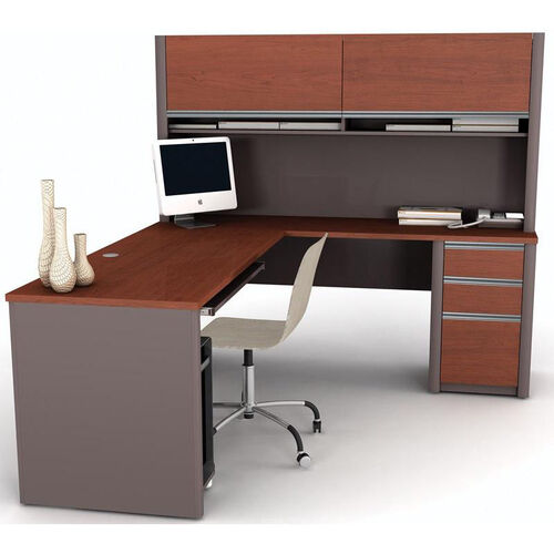 Connexion L-Shaped Desk and Hutch Workstation with Wire Management - Slate
