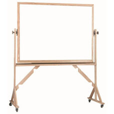 Reversible Free Standing Melamine White Marker Board with Red Oak Frame - 36