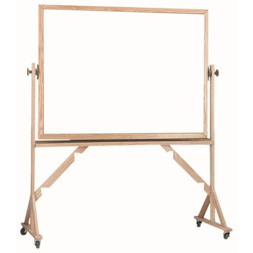 Our Reversible Free Standing Melamine White Marker Board with Red Oak Frame - 36