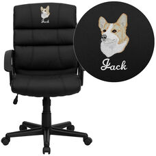 Embroidered Mid-Back Black LeatherSoft Swivel Task Office Chair with Arms