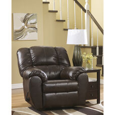 Signature Design by Ashley Dylan Faux Leather Rocker Recliner in Espresso Faux Leather