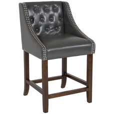 "Carmel Series 24"" High Transitional Tufted Walnut Counter Height Stool with Accent Nail Trim in Dark Gray LeatherSoft"
