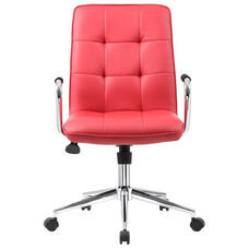 Modern Office Chair with Chrome Arms - Red