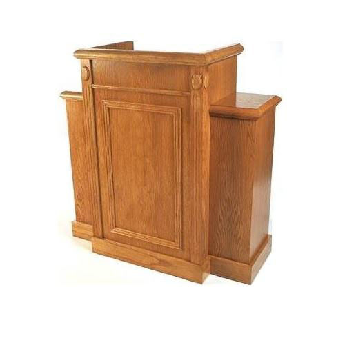 Our Stained Red Oak Wing Pulpit with Raised Bevel Front Panel is on sale now.