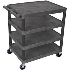 4 Shelf Mobile Structural Foam Plastic Utility Cart - Black - 32