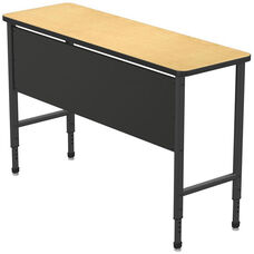Apex Series Height Adjustable Stand Up Desk with PVC Edge - Fusion Maple Top with Black Edge and Legs - 60