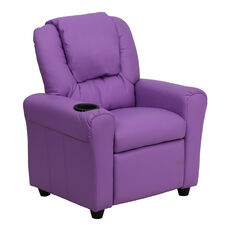 Contemporary Lavender Vinyl Kids Recliner with Cup Holder and Headrest