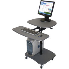 Adjustable Height Computer Workstation with Keyboard Shelf - Gray - 31.5