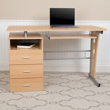 Maple Desk with Three Drawer Pedestal and Pull-Out Keyboard Tray